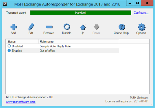 MSH Exchange Autoresponder 2.0 released