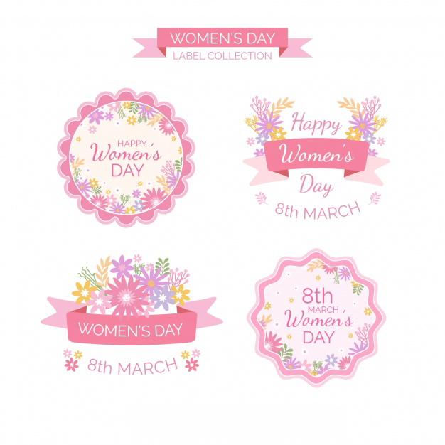 Pink womans day 8 march badge collection Free Vector