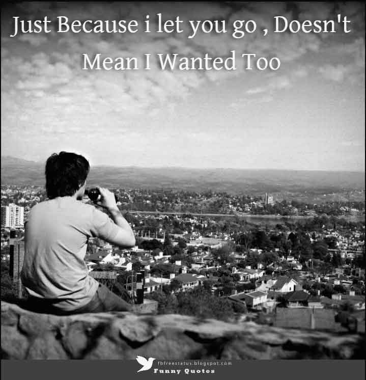 Just Because i let you go, Doesn't Mean I Wanted Too.