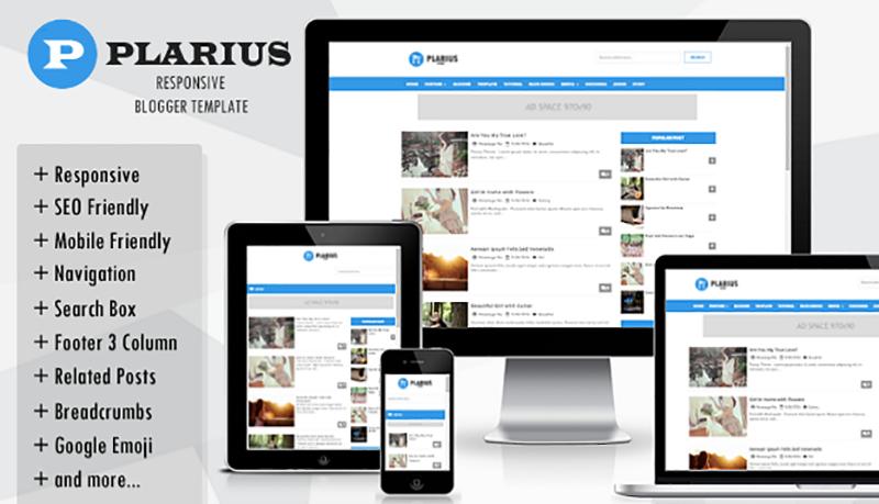 Plarius Responsive Simple Blogger Template Full Version