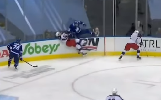 Kyle Clifford destroys Dean Kukan with huge hit, Blue Jackets vs Maple Leafs Game 2, 8/4/2020