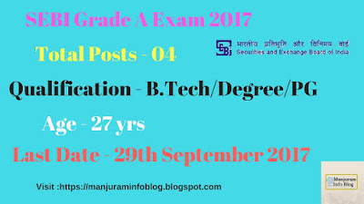 SEBI Recruitment 2017 | Notification | Officer Grade A (Assistant Manager)