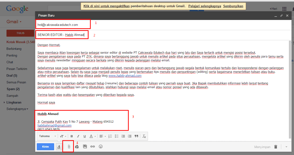 Contoh Surat Lamaran Kerja Via Email Secara Resmi Yang Menarik Baik