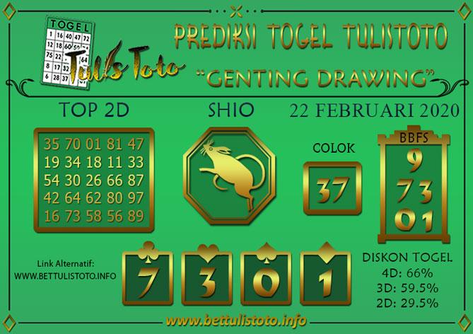 Prediksi Togel GENTING DRAWING TULISTOTO 22 FEBRUARI 2020