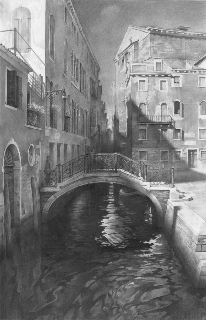 15-Venice-Denis-Chernov-Urban-Architecture-Pencil-Drawings-www-designstack-co