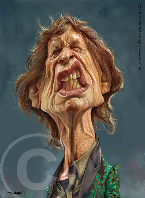 "Caricatura de ""Mick Jagger"" por Sebastian Cast"
