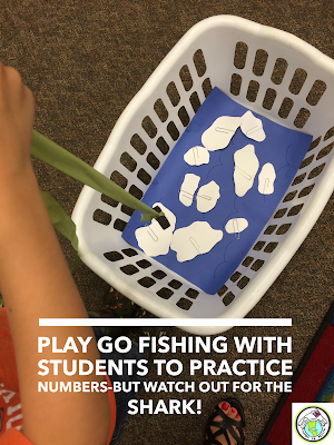 Go fishing game to practice numbers in elementary language class