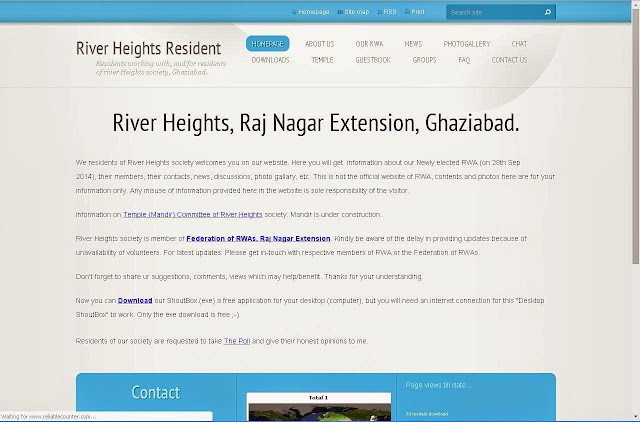 Website of RWA of River Heights, Raj Nagar Extension, Ghaziabad.