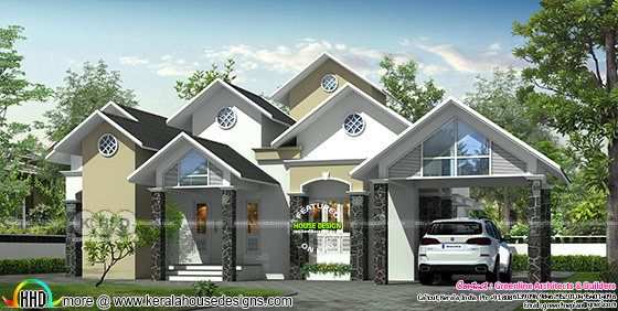 Victorian touch sloping roof house design