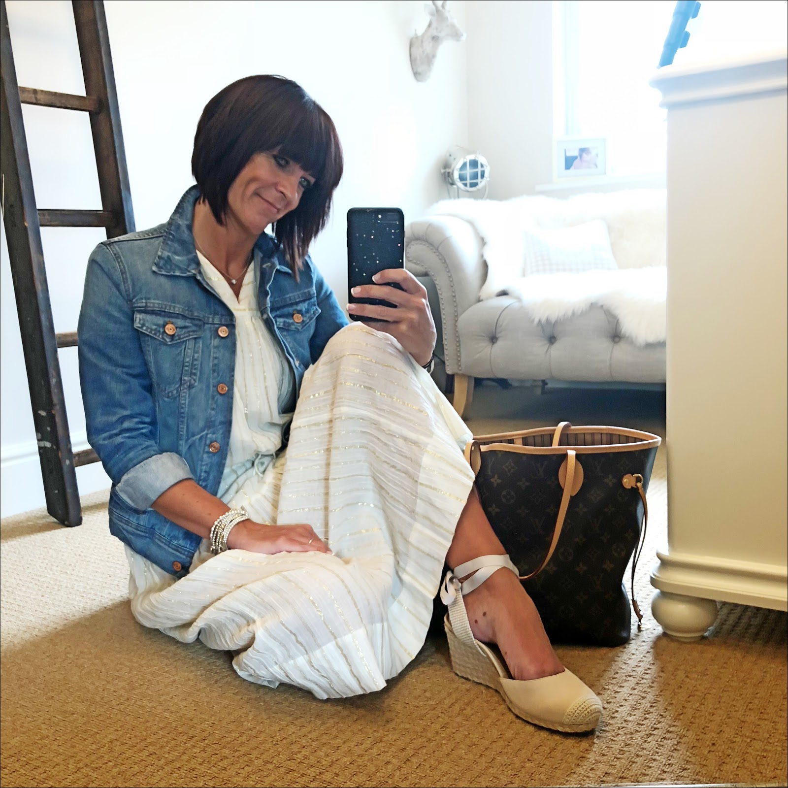 my midlife fashion, j crew denim jacket, isabel marant etoile linen gold stripe midi dress, vioniv maris womens espadirlle wedge, louis vuitton neverfull tote
