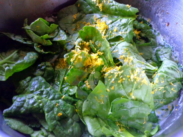 stir in half the spinach and the lemon zest