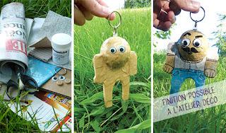 PORTE-CLE GEANT en carton et papier mâché - atelier loisir creatif pour enfants Cartons Dudulle - stage de création été 2016 - formation meuble en carton