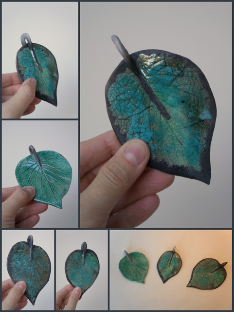 Beautiful raku leaf pendants - pottery by Lily L