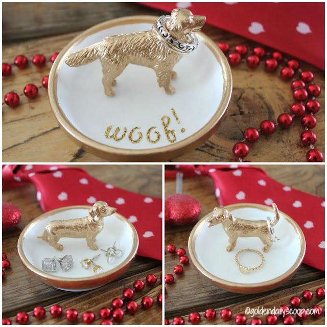 golden and white dog ring holder for dog lovers