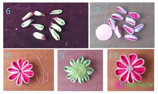 Tutorial lanjutan membuat bross bunga kanzashi dari kain satin