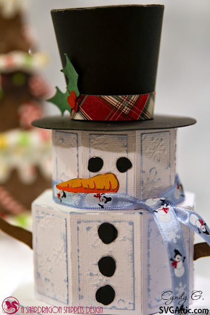 close up of snowman face