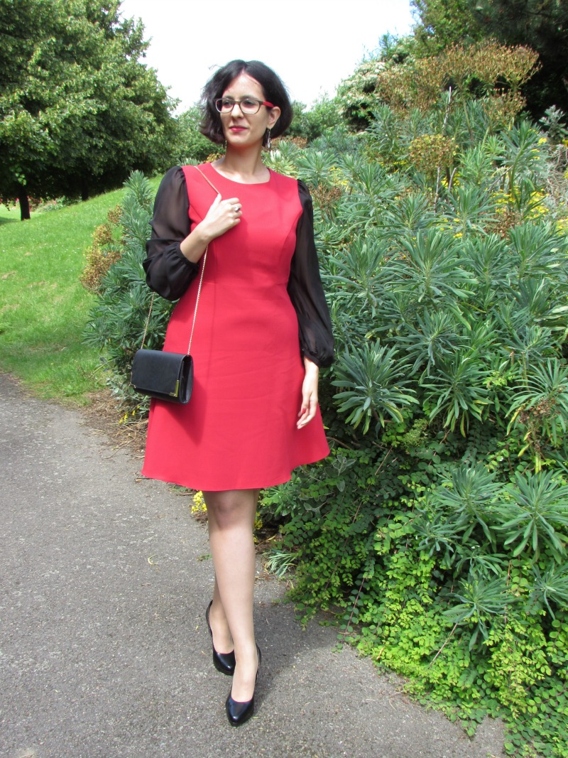 F&F red dress, Deichmann heels and New Look clutch