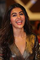 Pooja Hegde looks glamarous in deep neck sleevless short tight golden gown at Duvvada Jagannadham thank you meet function 149.JPG