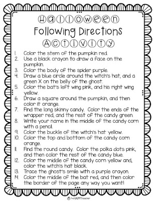 Listening and following directions coloring activity