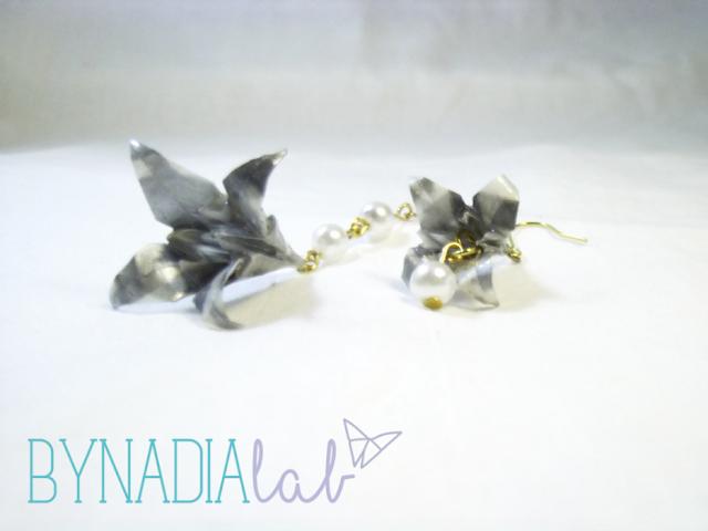 orecchini fiore origami bynadialab