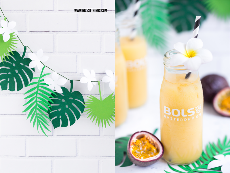 DIY exotische Blättergirlande und Eierlikor Maracuja Cocktail