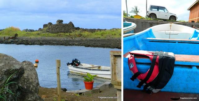 Caleta Hanga Piko, Ilha de Páscoa, ponto de partida do passeio de barco às ilhas sagradas dos Rapa Nui
