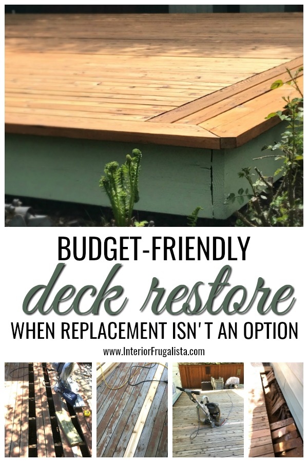 A budget-friendly deck restoration. How to restore an old outdoor wood deck to buy some time when a brand new replacement deck isn't in the budget. #budgetdeckrestoration #budgetwooddeck #olddeckrestore