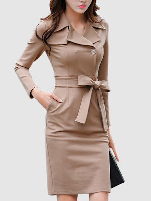 Fold-Over Collar Single Breasted Belt Plain Blend Bodycon Dress