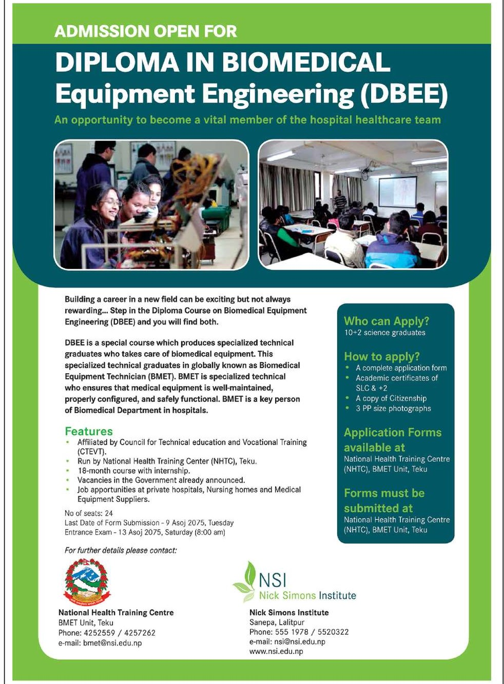 Diploma Course on Biomedical Equipment Engineering (DBEE)