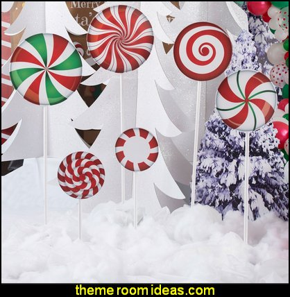Christmas Lollipop Props   candy Christmas theme decorating - candy themed christmas decorations - christmas candyland decorations -  candy ornaments -  candy shaped holiday ornaments - candy themed Christmas decor -