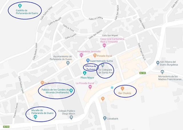 Mapa de monumentos de Peñaranda de Duero