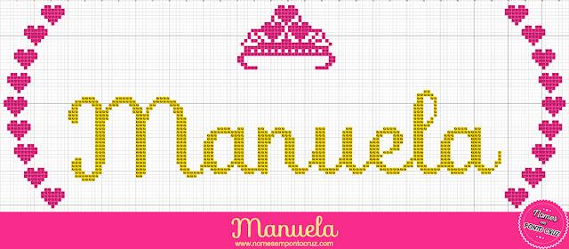 Nome Manuela em Ponto Cruz – Gráfico Princesa - 01