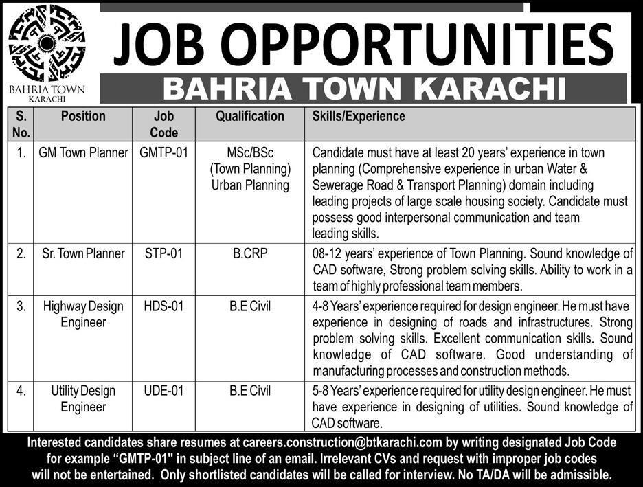 Bahria Town Karachi Jobs 2018 Latest Vacancies