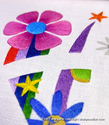 SFSNAD Flower Power Challenge: Colourful embroidered stripes and flowers