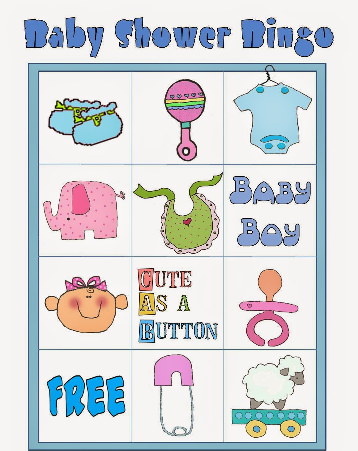 Free Printable Baby Shower Bingo In Colors