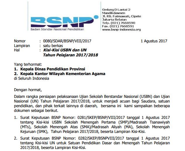 Kisi-Kisi Soal USBN & UN SMP SMA/SMK 2018 Kurikulum 2013 ...