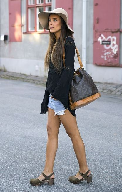 how to style a nude hat : bag + sandals + shirt + denim shorts