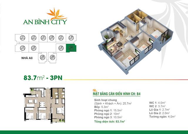 Mặt bằng căn hộ B4 An Bình City
