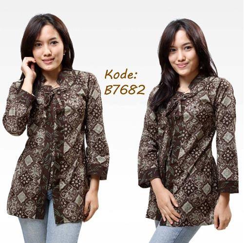 Model Baju Batik Semi Formal: Model Baju Batik Kantor Terbaru Wanita Kombinasi Atas