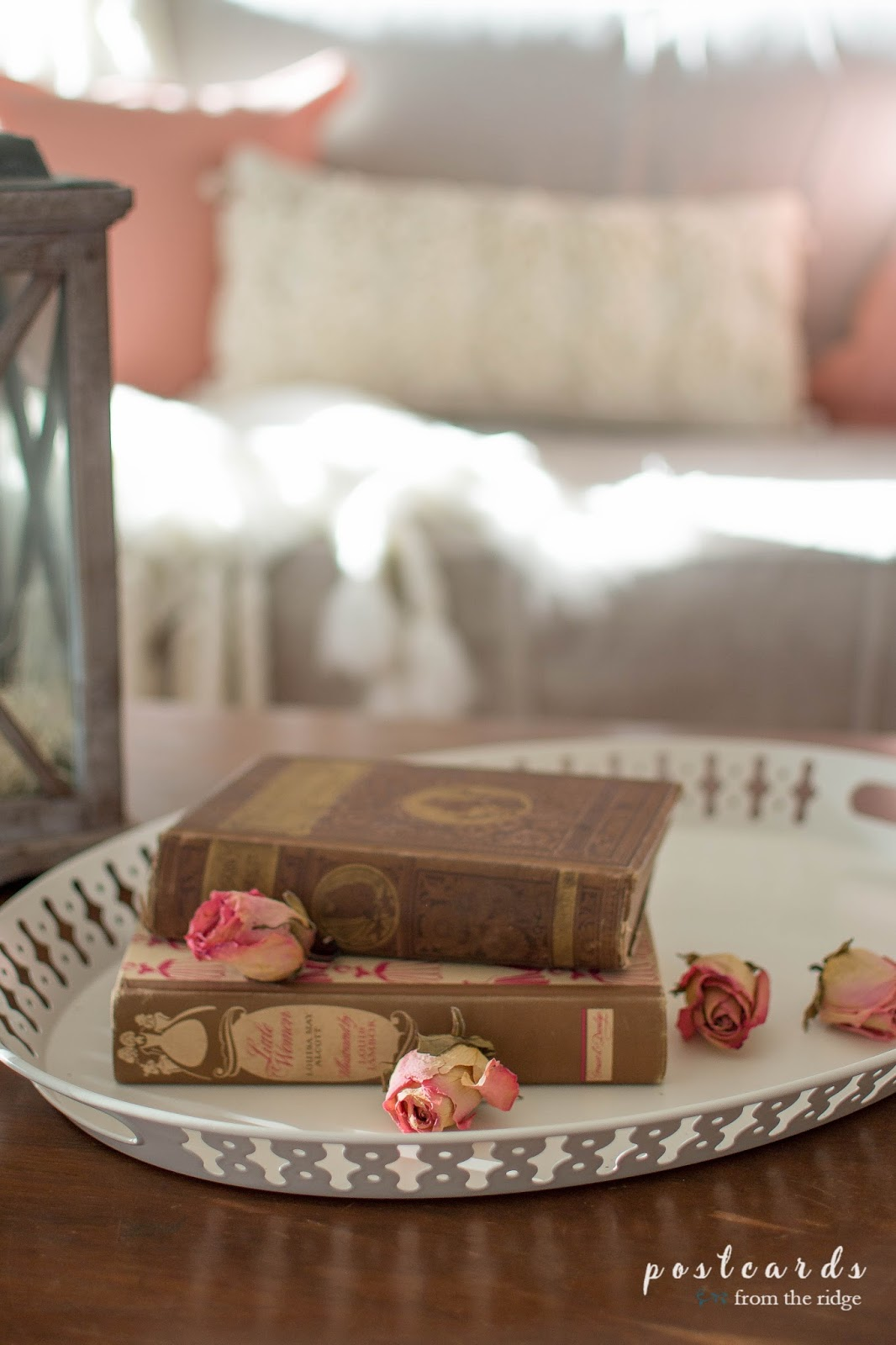 vintage books and blush colored dried roses