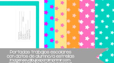 Portadas imprimibles escolares con datos de alumno