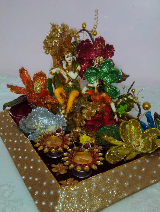 Engagement Ring Platter made on Radha Krishna Theme