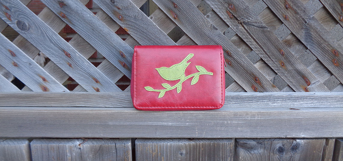 LAVISHY vegan leather cardholer from Adora collection features bird applique motif