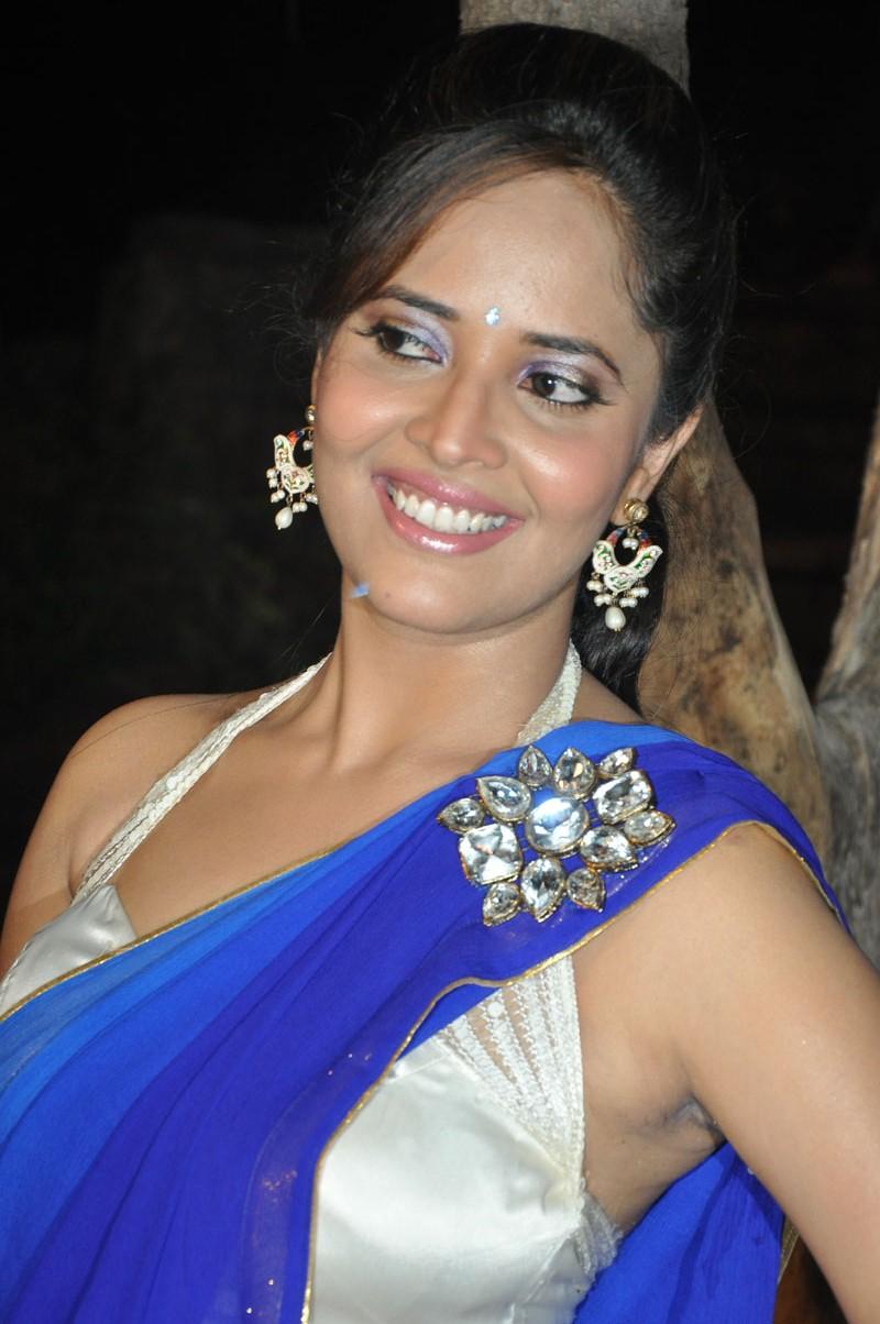 Tv Anchor Anasuya Latest Hot Blue Saree Images