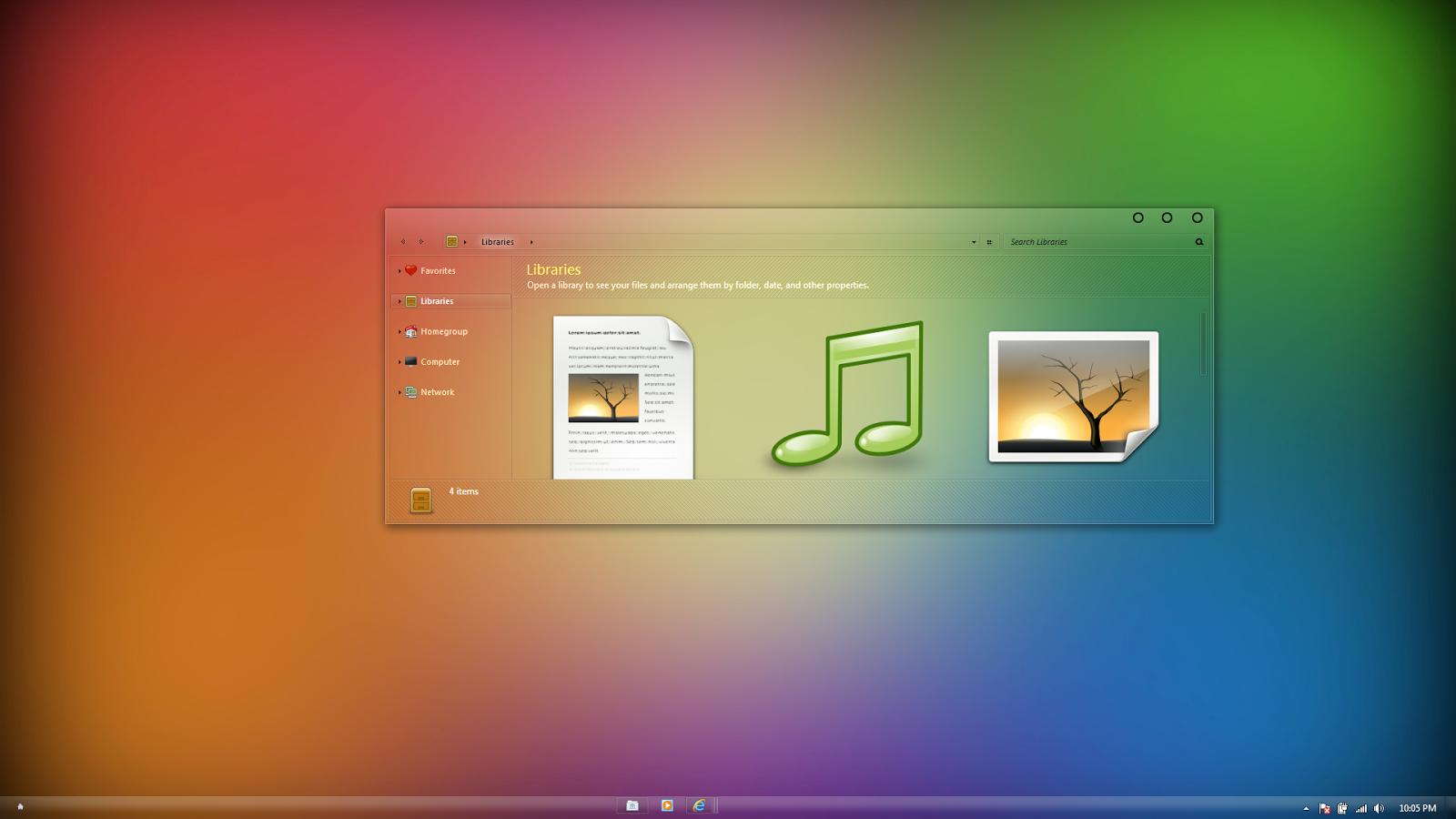 Windows 7 full glass theme