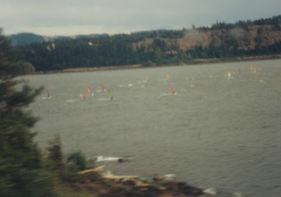 Windsurfers near Hood, Washington, on July 23, 1999