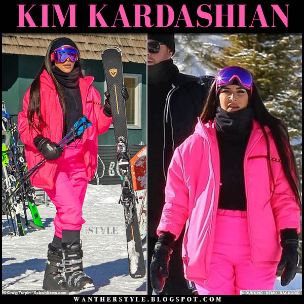 Kim Kardashian in bright pink ski jacket and pink ski pants ski fashion december 29