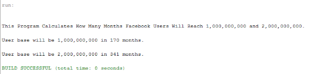 Facebook User Base Growth Calculator in Java