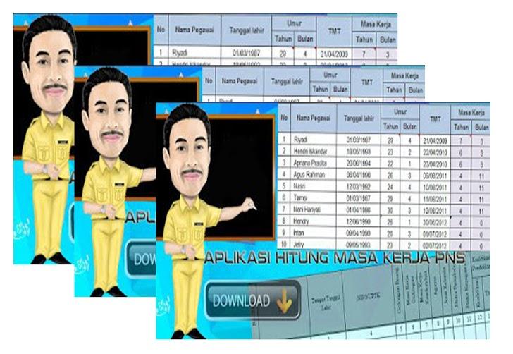 Aplikasi Hitung Masa Kerja Guru dan Tenaga Administrasi PNS Excel