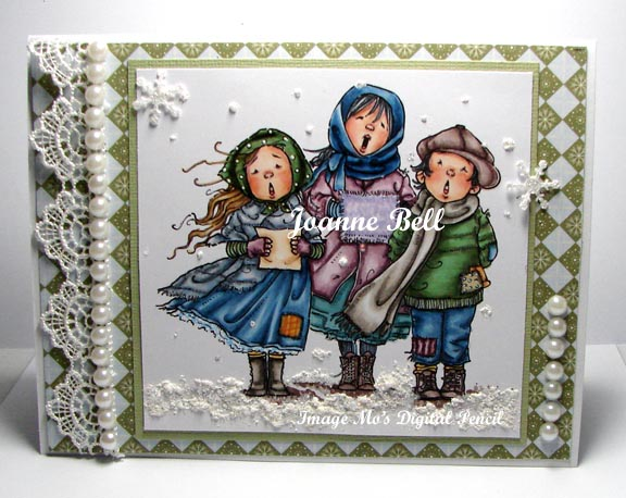 three carolers Christmas card coloured with Copics